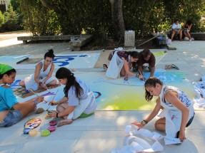 494__  _רמי מאירי -   ציור התפאורה באירוע מכבי העולמי 2011_